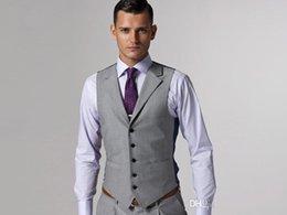 Wholesale 2015 New Light Gray Formal Men s Waistcoats Groom Tuxedos Vest Wear Bridegroom Vests Custom Made C15