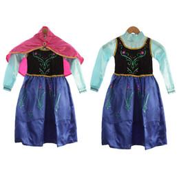 vestido del cabrito congelado Elsa Ana del cabo con los niños ropa de los bebés de los trajes de Cosplay fantasía elsa disfraces en stock libre de DHL