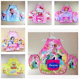 Wholesale Cartoon Kids Apron Frozen Princess KT Dora Mickey Minnie Sofia Spiderman Kids Cartoon Cooking Art Painting Smock Apron Oversleeve