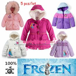 Wholesale Frozen Down Coat cotton padded Puffer Jacket Girl FROZEN Winter Fleece Outerwear Anna and Elsa Children Hooded Coat Kids Down Parkas MYF04