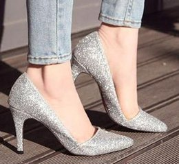 Wholesale fashion silver pointed pumps ladies wedding shoes glitter shoes sexy high heels prom shoes
