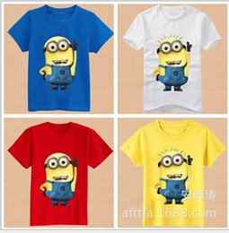 Wholesale 2015 New fashion Cartoon T shirt Minion Rush Despicable Me Pullover Short Sleeve Modal for Kids Children Boys Girls For yr Factory Free