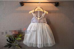 Wholesale 2015 Kids Girls Singlet Stripe Lace dress Baby girl Summer princess tutu dress babies clothes children s clothing