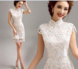 Wholesale 2015 White Short Cheongsam Qipao Lace Chinese Traditional Dress Lace Cheongsam Dress Short Chinese Dress Vestido De Festa
