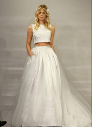 two piece wedding dresses runway aline bateau sleeveless floor length white tulle lace newest designer vestidos bridal party gown
