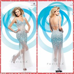 Wholesale 2015 Attractive Mermaid Evening Dresses Full Beaded Crystal Long Tulle Skirt Floor Length Formal Evening Party Gowns Custom Shiny Women