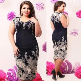 Wholesale 2016 plus size women clothing xl xl print sleeveless casual o neck knee high dress with appliques vestidos