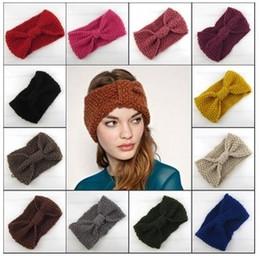 Wholesale New Knitted Women Headbands Kids Colors Fashion Handmade Bow Hair Accessories Wool Crochet Headband B3567
