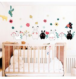 Cartoon Bunny Rabbit Wall Stickers Baby Children Bedroom Living Room Decoration Wall Stickers Pvc Removable Stickers Home Decor
