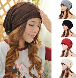 Slouch Cap NOVO Moda feminina Ladies Unisex Inverno Knit plicate Hat Malha Crânio Gorros Ski Casual 5 cores frete grátis