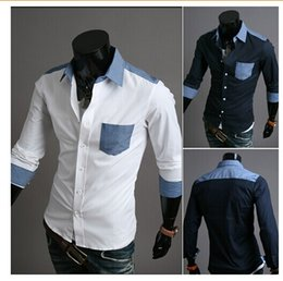 Wholesale Men Casual Shirts Man Dress Long Sleeve Shirt Cotton Color matching shirts Boys Jeans Pocket Mens Apparel Clothing Lowest Price