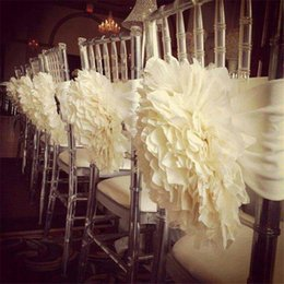 Wholesale Ivory White D Flower Chair Covers Sashes Pieces A Hand Made Country Garden Beach Wedding Suppliers Decoration Cheap