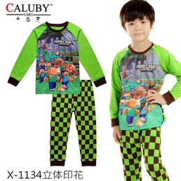 Wholesale Baby Boys Minecraft Clothing Set Kids Summer Style Pajamas Sets New Children Cartoon Cotton Clothes X