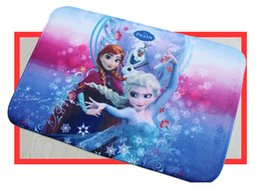 Wholesale DHL Frozen Anna Elsa Children s bath Mats Coral fleece mat Super water absorption printed carpet Cartoon rubber foot pad S134