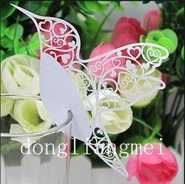 Wholesale 1000pc Love Bird Place Card Laser Cut Wine Glass Card Wedding Party Decoration Z130