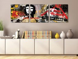Discount che art 3 Pieces Free shipping Wall Painting Art Picture Paint on Canvas Prints Che Guevara New York city dark ewspaper Petronas TwinTowers