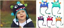 Wholesale ganchillo bebé niños del sombrero del monstruo del oído manguito beanies sombreros para el invierno