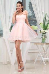 2016 Blush une épaule robes Pageant main Fleurs Tulle froncé Prom robe de soirée robe Hot Cheap Sale New bal Robes de mariée