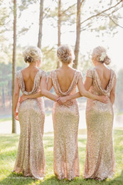 Wholesale 2015 New Arrival Gold Shining Sequined Bridesmaid Dresses Draped Open Back Sexy Prom Dresses Ruched Capped Sleeve Mermaid Bridesmaid Dresses