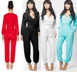 Wholesale New Fashion Jumpsuit Blue Red Deep V Long Sleeve Jumpsuit Women Loose Casual Playsuit Narrow Waist Rompers womens jumpsuit hight quality