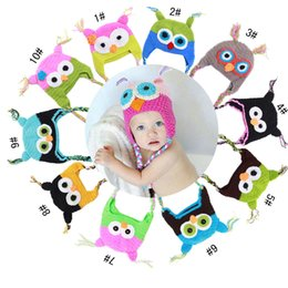 Wholesale Hot sales Baby hand knitting owls hat Knitted hat Children s Caps Color crochet hats for kids