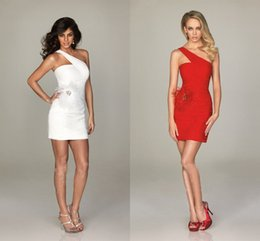 Wholesale 2015 new sheath Homecoming Dresses Cool Corset One Shoulder Mini White Beaded Satin Short Pageant Prom Gowns Cocktail Dresses