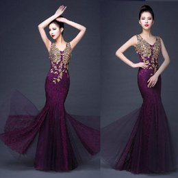 Wholesale 2015 new v neck sleeveless phoenix set auger evening dresses High grade mermaid sexy lace appliqued dinner dresses in stock drop DHL