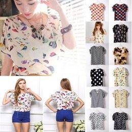 Wholesale S M L XL XXL Women Bird Printed Chiffon Blouses for Work Wear Polk Dot Shirt Women Tops Batwing Short sleeve blusas