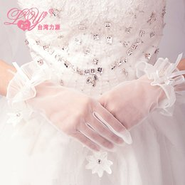 Wholesale 2015 The bride wedding gloves short white fittings C1
