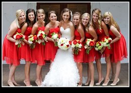 Wholesale 2015 Red Cheap Bridesmaid Dresses Strapless Backless With Hand Made Flowers Ruched Short Mini Chiffon Prom Dress Under Vestidos De Festa