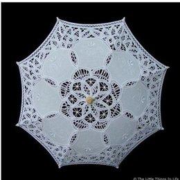 Wholesale In Stock Cheap Flower Girl Parasols Umbrella Ivory White Lace Garden Beach Wedding Occasion Sun Umbrella for Girls