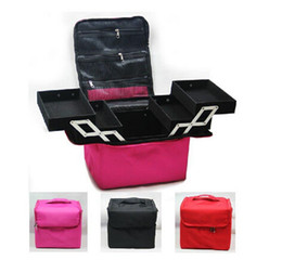 Wholesale Cosmetic bag Professional makeup cosmetic bag large capacity double box shoulder dressing cosmetics makeup box