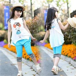 Wholesale kids clothes New fashion Summer children clothes girls clothing sets cotton t shirt pants two piece baby casual sport suits