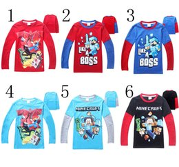 Wholesale Minecraft For Big Boys Tshirts Long Sleeve Cute Cartoon Cotton Tees Kids T Shirt Childs Children Autumn Tops Clothing Outwear