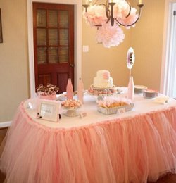 Wholesale 2015 Pink Wedding Tulle Table Skirt cm Colorful Wedding Party Decorations Suppliers Table Sashes Coveres Custom Made