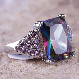 Wholesale New Rainbow Emerald Round Cut Amethyst Gemstones for Wedding Party Prom Lady Finger Ring Size Bridal Accessories Jewelry In Stock