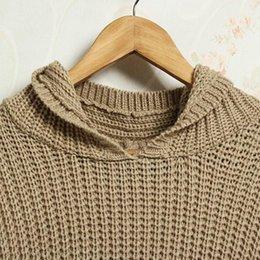 Wholesale US Stock Korea Womens long Sleeve Sweater Irregular Asym Hem Jumper Loose Hooded Knit Top
