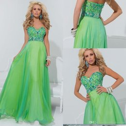 Wholesale Hot Sale Beaded Sweetheart Bodice Corset Lime Green Chiffon Prom Evening Dresses Long Formal Party Gowns New Arrival