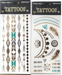 Wholesale New Popular designs Temporary Tattoos Stickers Bronzing Hot Gold Silver Flash of Inspiration Tattoos Colorful Stickers Bling X19 CM