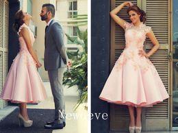 Wholesale 2017 Formal Evening Dresses Tea Length Short Prom Gowns Lace Applique Crew Neck Zip Back Satin Cheap Plus Size Bridesmaid Dresses