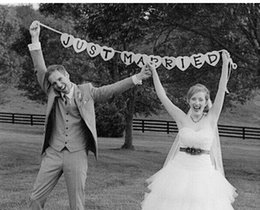 Wholesale Just Married Vintage Wedding Bunting Banner Photo Booth Props Garland Bridal Shower wedding decoration