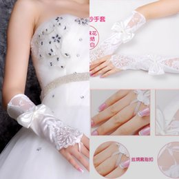 Wholesale 2015 Cheap Charming wedding White ivory Brand New Lace Satin Fingerless Bow Below Elbow Length Gloves Bridal Wedding Evening Accessories