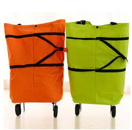 Wholesale 4 styles Portable Shopping Bag Foldable Luggage Cart Travel Trolley Bag Wheel shopping bag shopping cart wheel bag travel bag LJJC1585