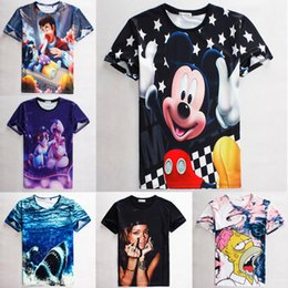Wholesale Raisevern cute cartoon t shirt for woman lady girl anime T shirt rihanna miki mouse simpsons print graphic top tees