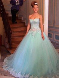 Wholesale 2015 Quinceanera Dresses Ball Gowns Cheap Sweetheart Full Length Corset Quinceanera Gowns Beaded Prom Dresses with Appliques Lace