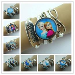 Wholesale newest Frozen Elsa Bracelets Infinity Charm Bracelet Leather Handmade Combination Pattern Colorful Charm Bracelets Elsa bracelets