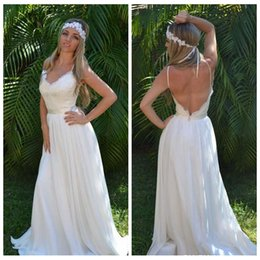 Wholesale Beach Wedding Dresses Boho Garden Bridal Gowns Spaghetti Lace Chiffon Wedding Gowns
