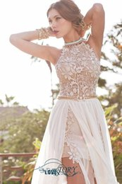 Wholesale 2016 Lace Applique Chiffon Prom Dresses Halter Evening Gowns Bohemian Beach Wedding Dresses The new sweet and fashionable nightclub dress