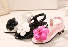 Wholesale 2015 beautiful flowers PU casual slip bottom barefoot sandals Summer double C type elastic girl beach sandals Baby Shoes pair