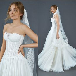 Wholesale Abiti da Sposa Atelier Eme Strapless Princess Wedding Dresses with Exposed See Through Boning and Corset Back Long Full Length Bridal Gowns